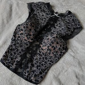 Sheer Lace Bustier Top High Neck Corset
